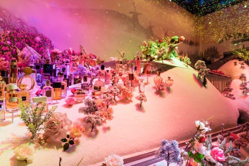 Exposición de la Navidad del magasin magnífico París fotos de archivo