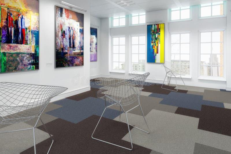 Exposición de pintura con arte contemporáneo ilustración del vector