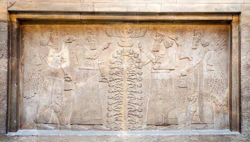 Exposición del arte del asirio en el museo británico, Londres, Reino Unido imagenes de archivo