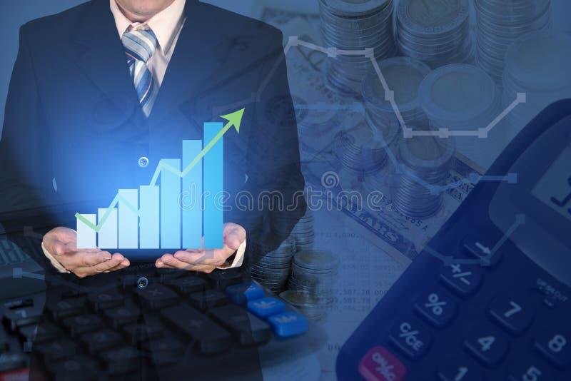 Exposición doble de la carta financiera del gráfico del crecimiento del negocio con AR fotos de archivo libres de regalías