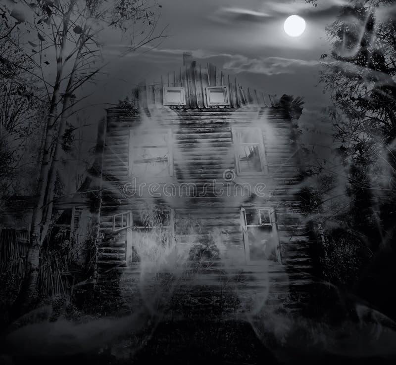 Exposición doble de la casa fantasmagórica imagen de archivo