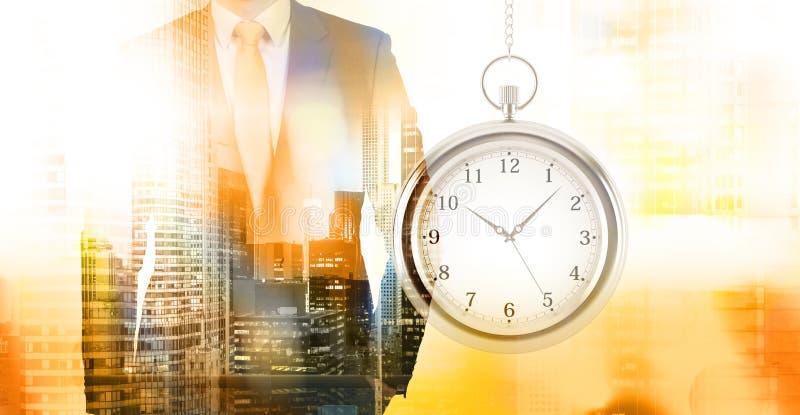 Exposición doble de la gestión de tiempo imagenes de archivo