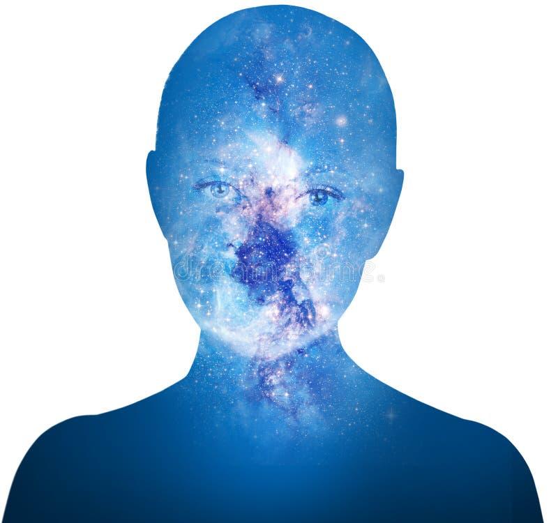 Exposición doble de la mujer de la silueta y de la galaxia cósmica imagenes de archivo