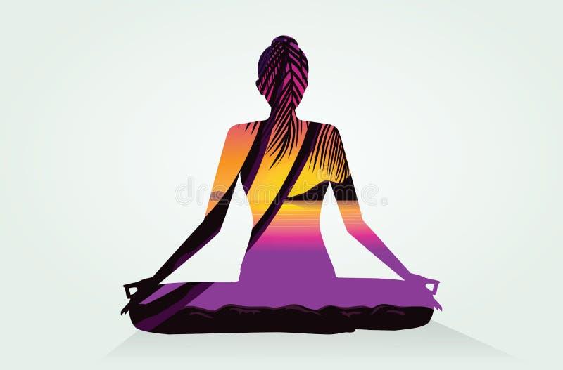 Exposición doble de las posturas y del mar de la yoga stock de ilustración