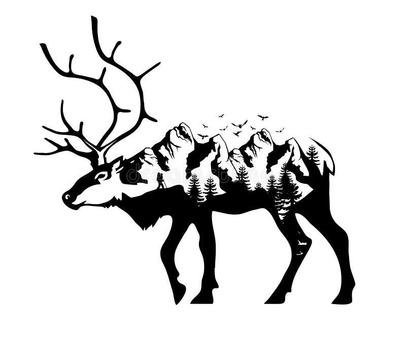 Exposición doble de los ciervos stock de ilustración