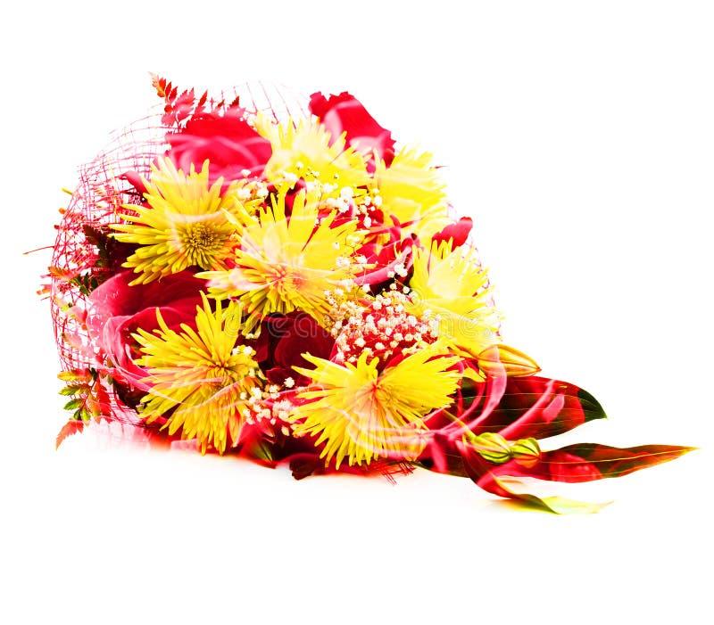 Exposición doble de un ramo de crisantemos amarillos y de rosas rojas foto de archivo