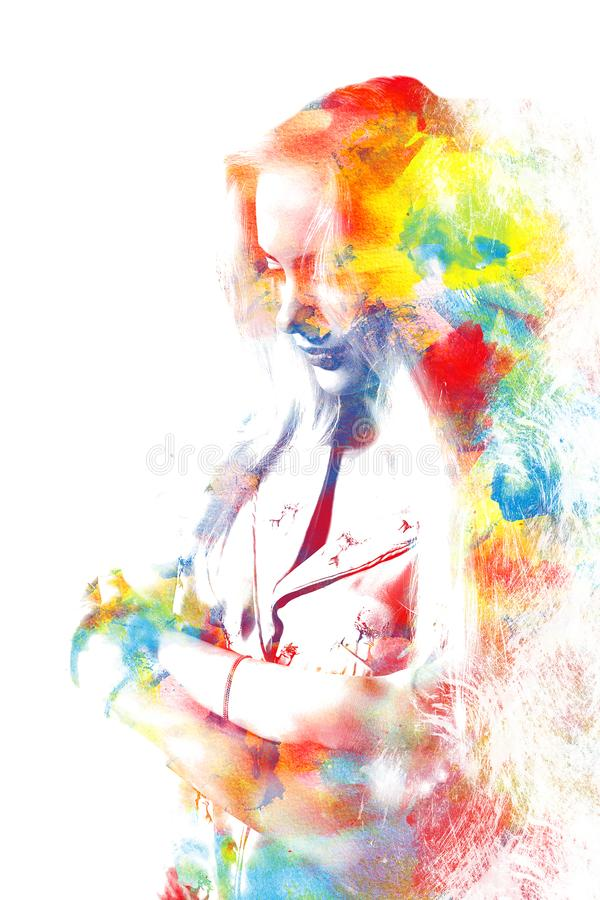 Exposición doble de una muchacha hermosa joven Retrato pintado de a fotografía de archivo libre de regalías