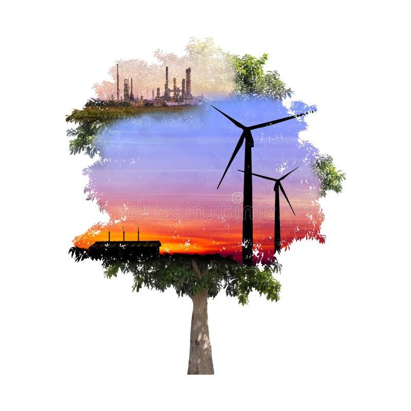 Exposición doble del árbol libre illustration