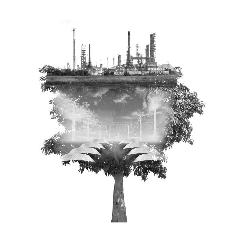 Exposición doble del árbol ilustración del vector