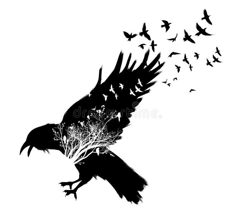 Exposición doble del cuervo stock de ilustración