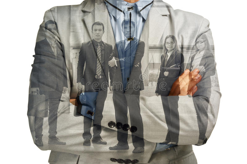 Exposición doble del hombre de negocios y de la ayuda Team Businesspeople C fotografía de archivo