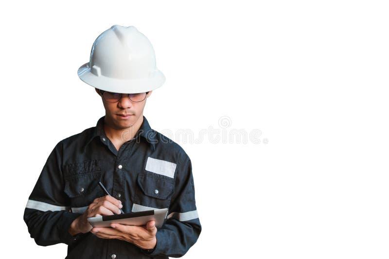 Exposición doble del hombre del ingeniero o del técnico con el casco de seguridad imagenes de archivo
