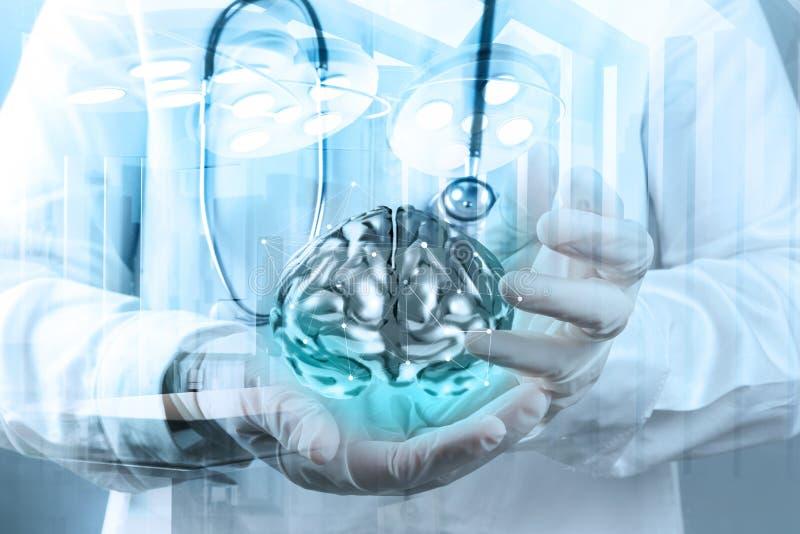 Exposición doble del neurólogo del doctor fotografía de archivo