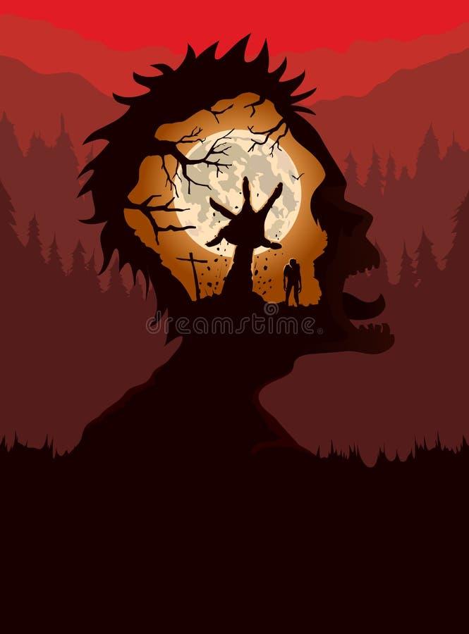 Exposición doble del zombi que grita con la mano que sube de la tierra stock de ilustración