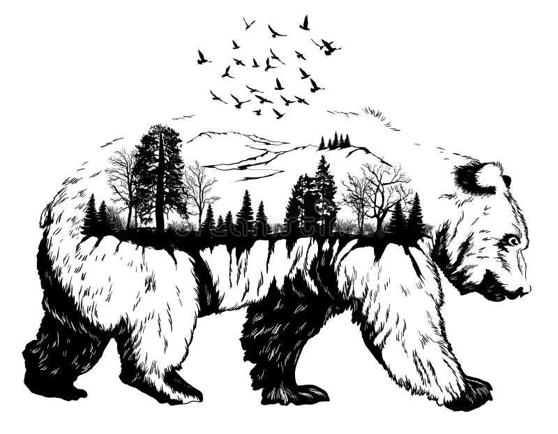 Exposición doble, oso dibujado mano ilustración del vector