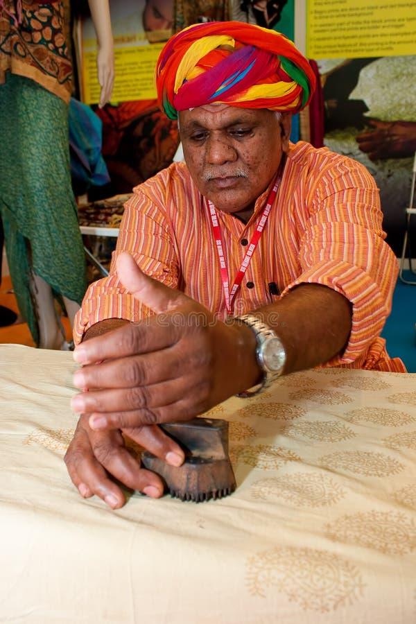 Exposición india de las materias textiles imagen de archivo libre de regalías