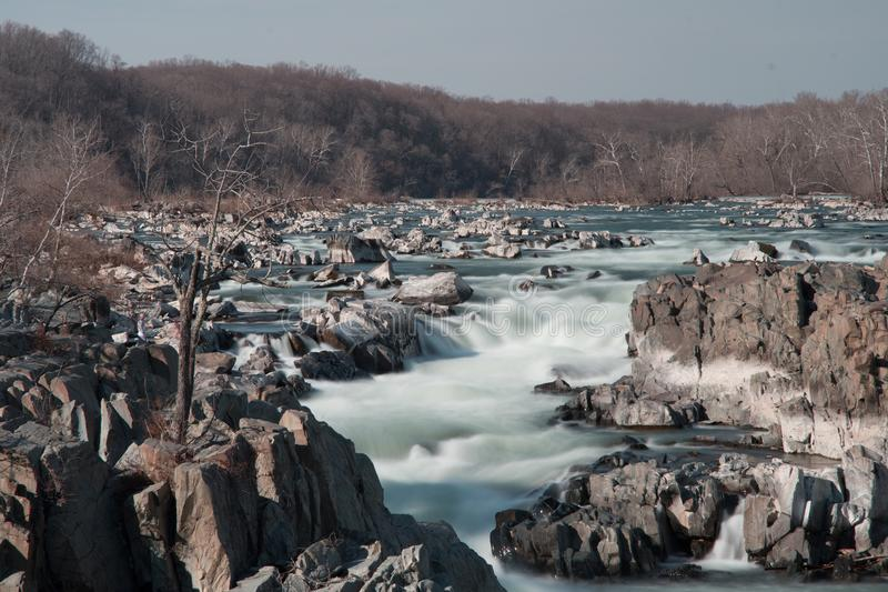 Exposición larga de Great Falls fotos de archivo libres de regalías