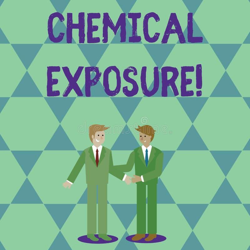 Exposición química del texto de la escritura Significado del concepto que toca, sustancias químicas dañinas dos respirando, comie stock de ilustración