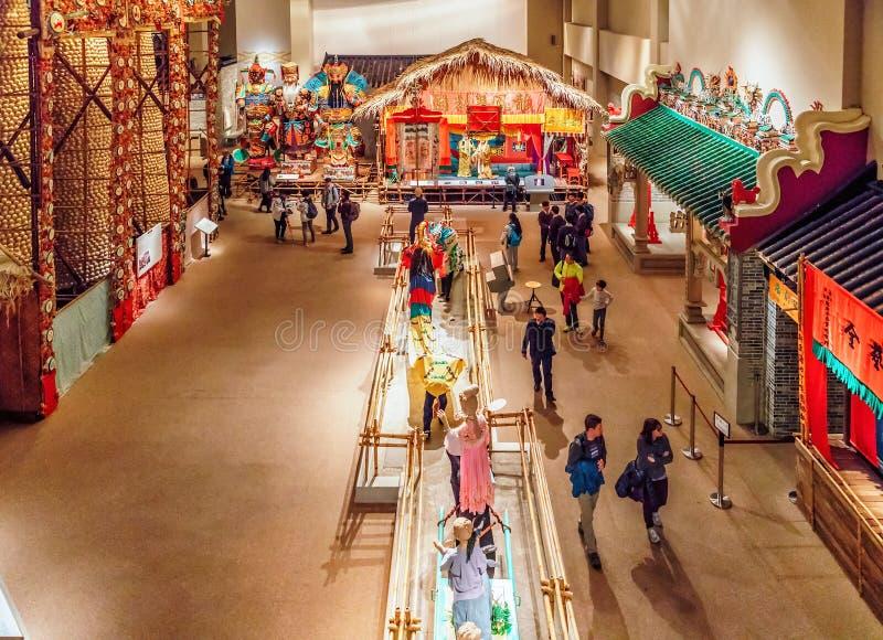 Exposiciones históricas en Hong Kong Museum de la historia que representa vida y la cultura chinas antiguas foto de archivo libre de regalías