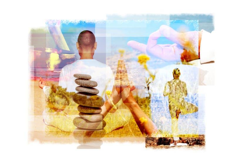 Exposiciones múltiples de una yogui en diversas posiciones de la yoga fotografía de archivo libre de regalías