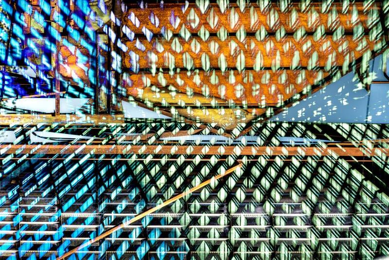 Exposition abstraite industrielle de RÉTROS réflexions double illustration libre de droits