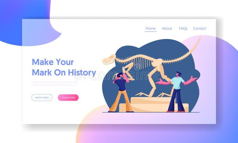 Exposition archéologique de dinosaures La page d'atterrissage de site Web, couplent des hommes visitant le musée de paléontologie illustration de vecteur