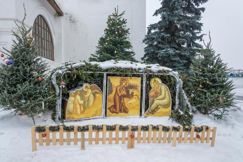 Exposition of the birth of Jesus Christ in the Vvedensky Monastery January 20, 2013 in the village of Vvedenye, Ivanovo region, R royalty free stock images