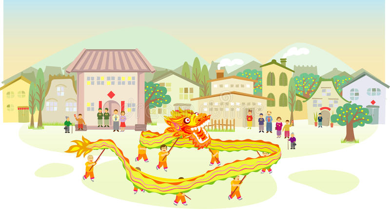 Exposition chinoise de danse de dragon illustration stock