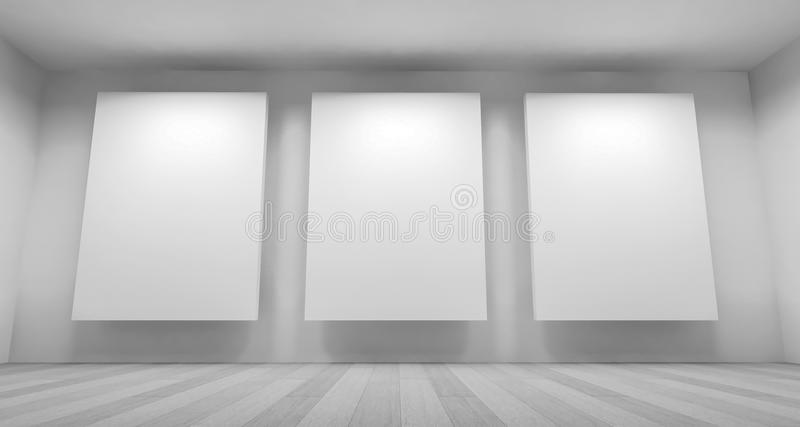 Exposition, Clean Art Gallery Space With Blank Frames On The Wal ...