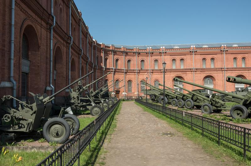 Exposition on courtyard of Military History Museum of artillery, engineer and signal corps in St. Petersburg. Russia royalty free stock photo