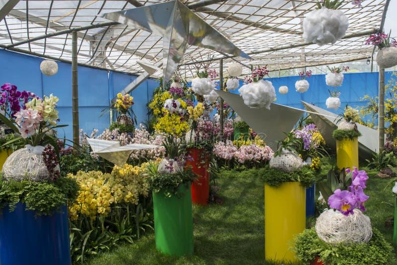 Exposition d'orchidée images stock