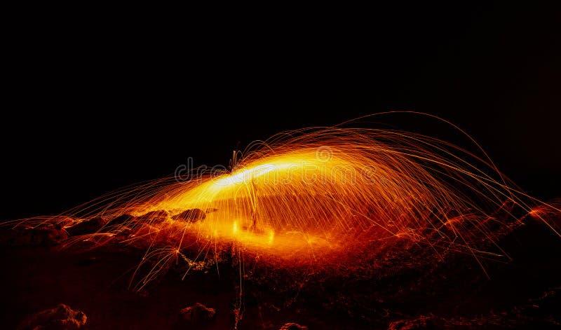 Exposition de boule de feu longue images stock