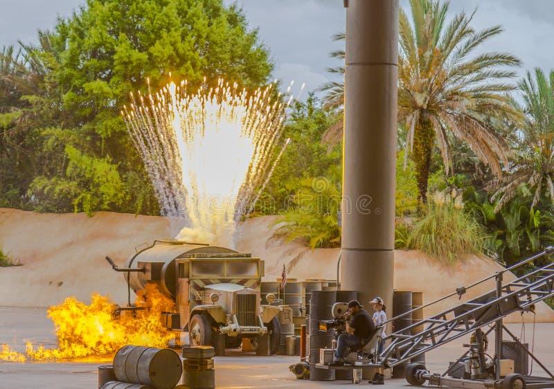Exposition de cascade d'Indiana Jones de studios d'Orlando Florida Hollywood du monde de Disney photos stock