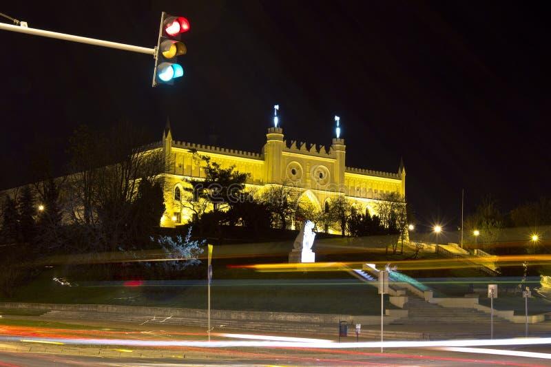 Exposition de château de nuit de ville de Lublin longue photographie stock