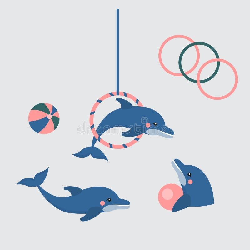 Exposition de dauphin, dolphinarium, otarie, phoque, cirque d'aqua, animal ocian illustration stock