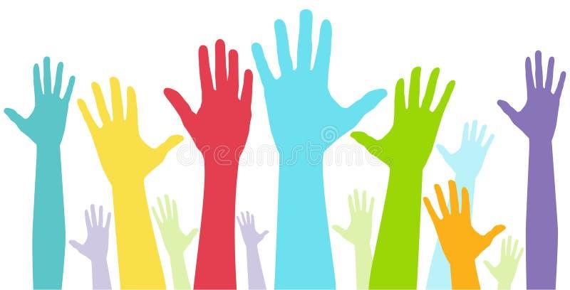 Exposition de diversité des mains illustration de vecteur