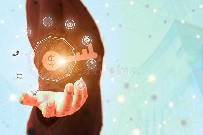 Exposition de femme d'affaires la clé d'affaires avec des icônes d'affaires et des conn. illustration stock