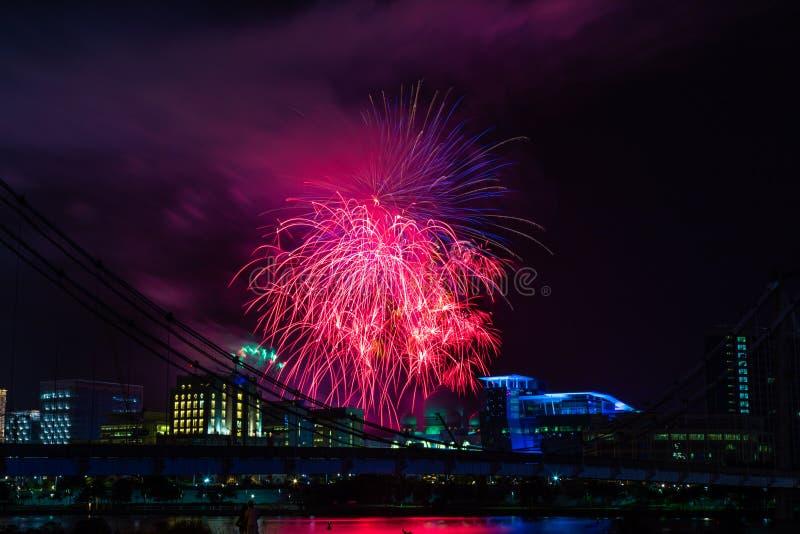 Exposition de feux d'artifice de nouvelle année image libre de droits