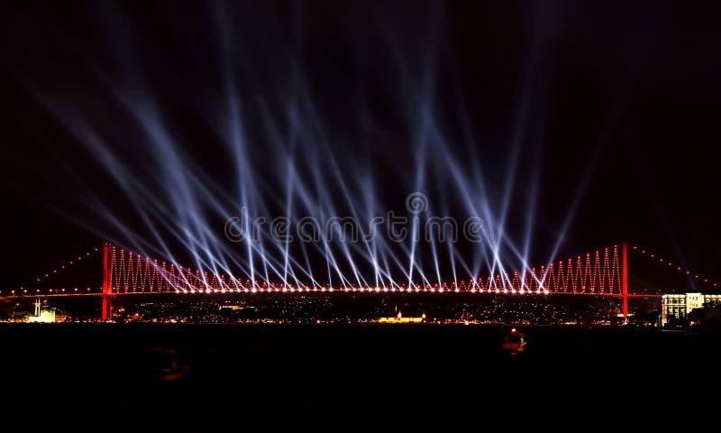Exposition de laser chez Bosporus, Istanbul photo stock