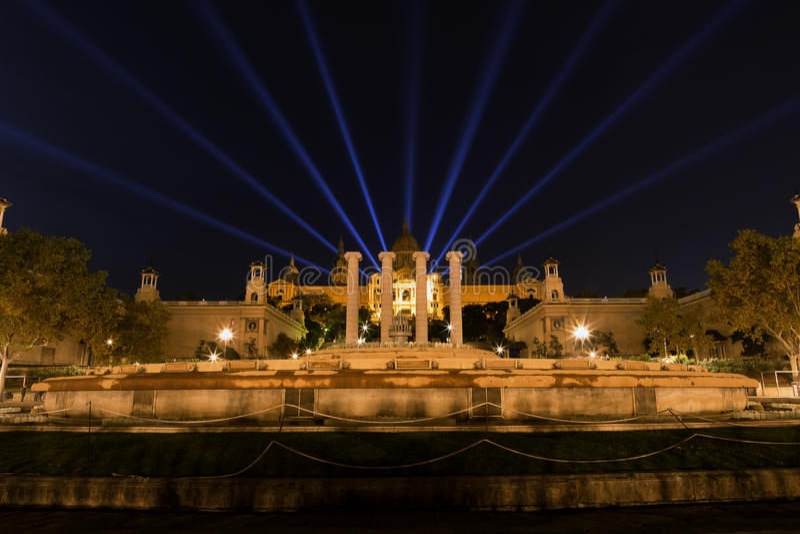 Exposition de laser de Barcelone de Musée National images libres de droits