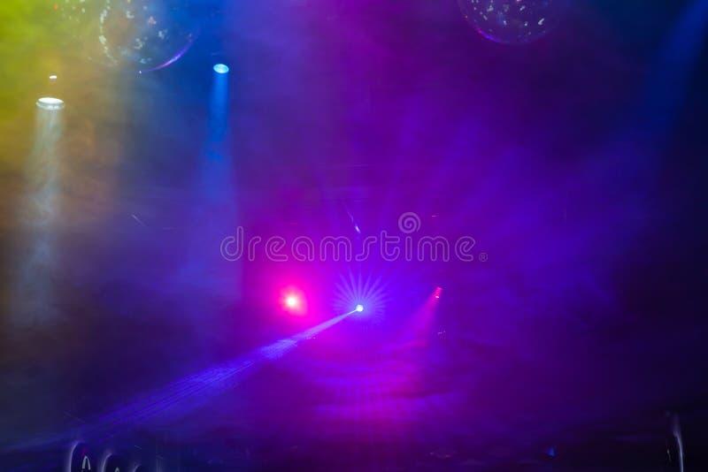 Exposition de lumière de disco, lumières d'étape photo stock