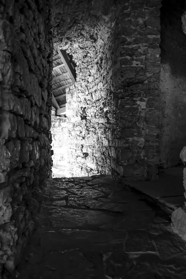 Exposition de nuit de castele de Kamianets-Podilskyi longue photo stock