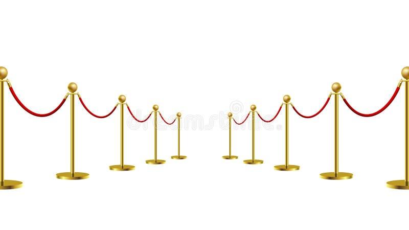 Exposition de première de concept de constructeur de barrière de corde d'or et art cher de protection Illustration de vecteur illustration stock