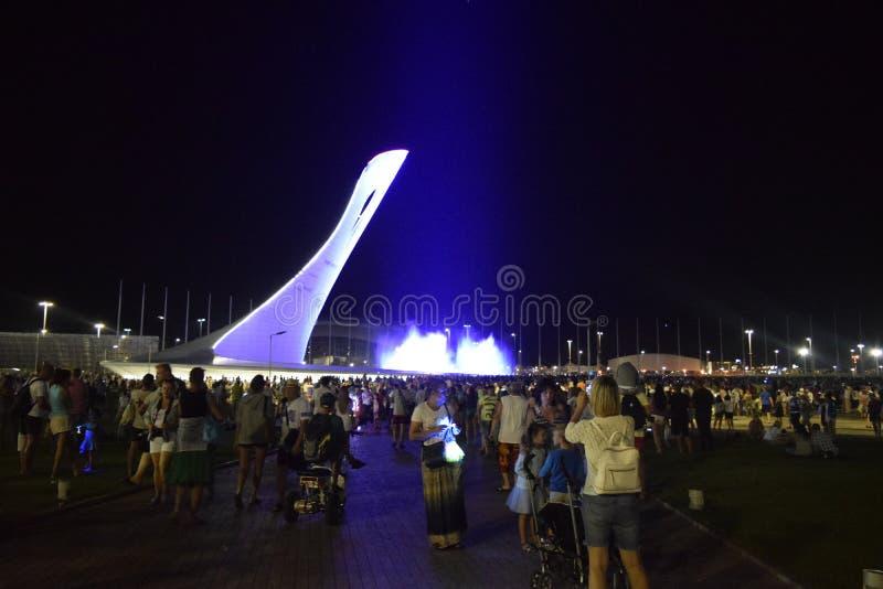 Exposition de soirée colorée de la torche olympique en parc olympique Sotchi images stock