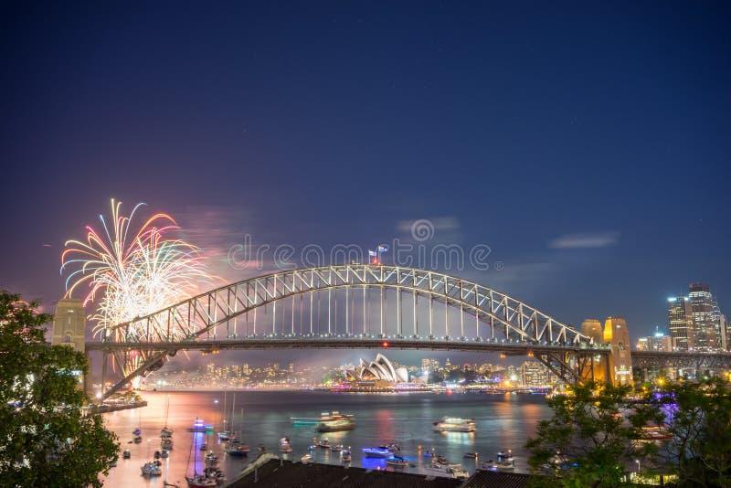 Exposition de Sydney New Year Eve Fireworks photographie stock libre de droits