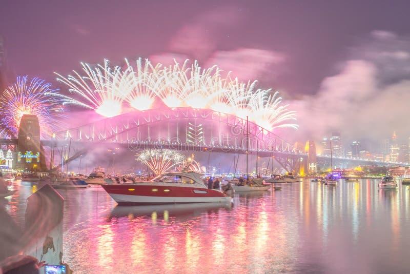 Exposition de Sydney New Year Eve Fireworks image libre de droits