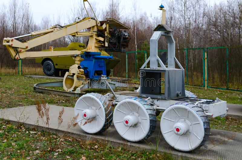 Exposition de technologie robotique, qui a participé à la liquidation des conséquences de la catastrophe de Chernobyl, Chernobyl, photographie stock