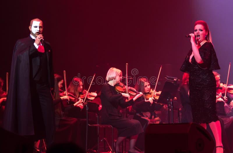 Exposition The Game d'orchestre symphonique des trônes à Kiev image libre de droits