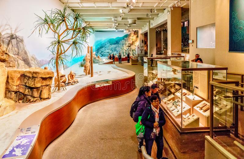 Exposition in Hong Kong Museum of History displays primeval life of native savage asian people in natural pristine environment. In. Hong Kong, China - January 20 royalty free stock images