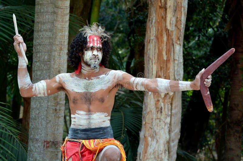 Exposition indigène de culture dans l'Australie du Queensland image libre de droits